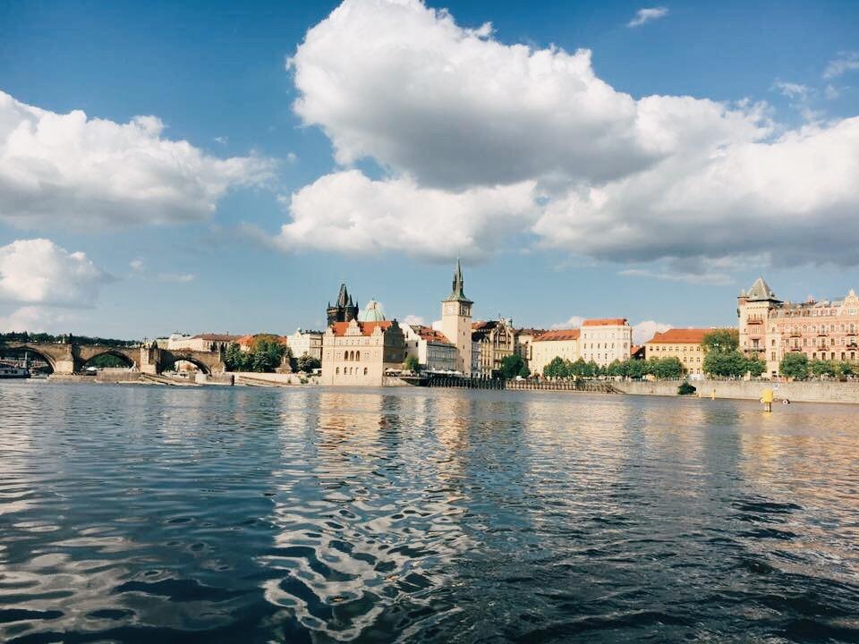 Paddle boating on Vltava River in Prague